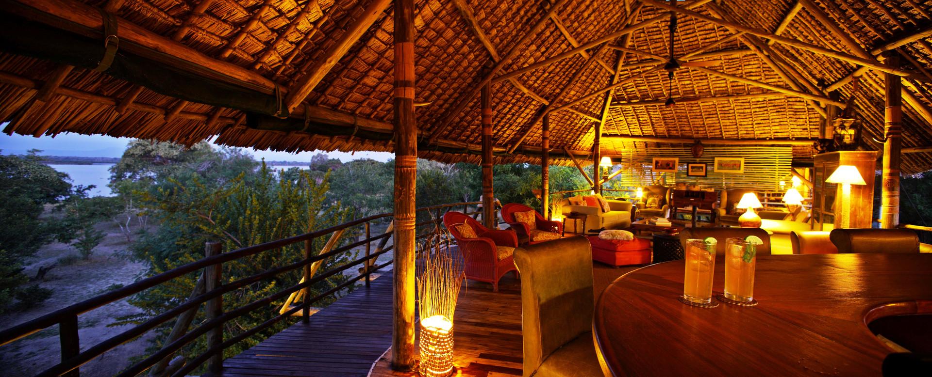 Settle in the lounge and bar area, Siwandu, Nyerere, Selous