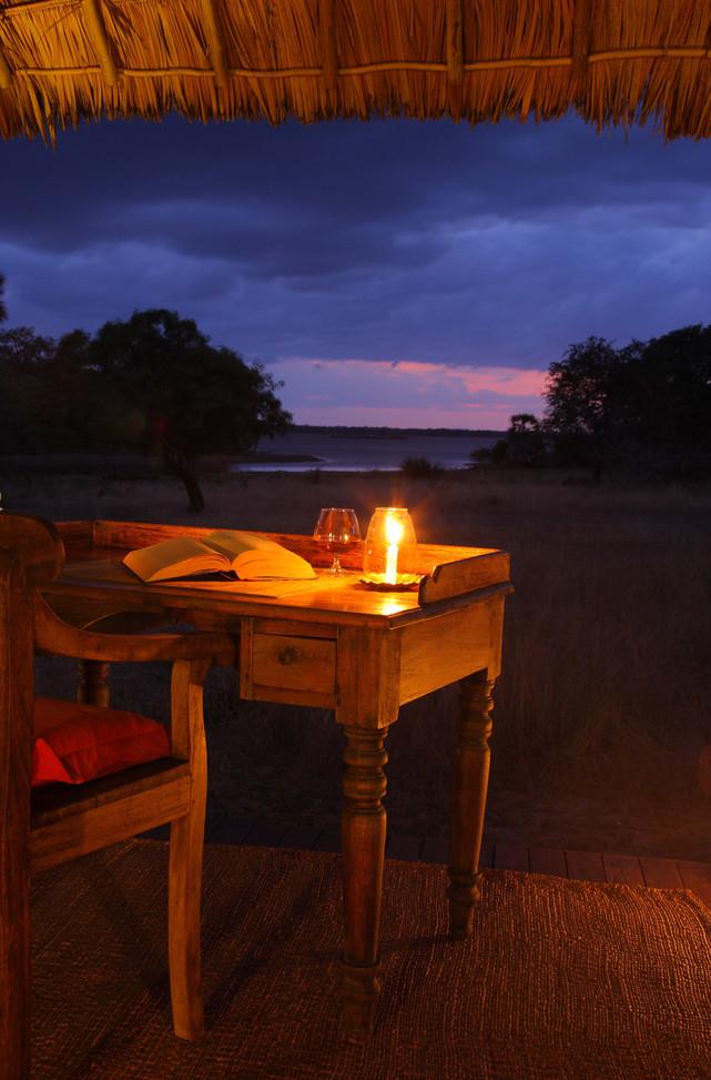 Lake views from the guest veranda at Siwandu, Nyerere, Selous