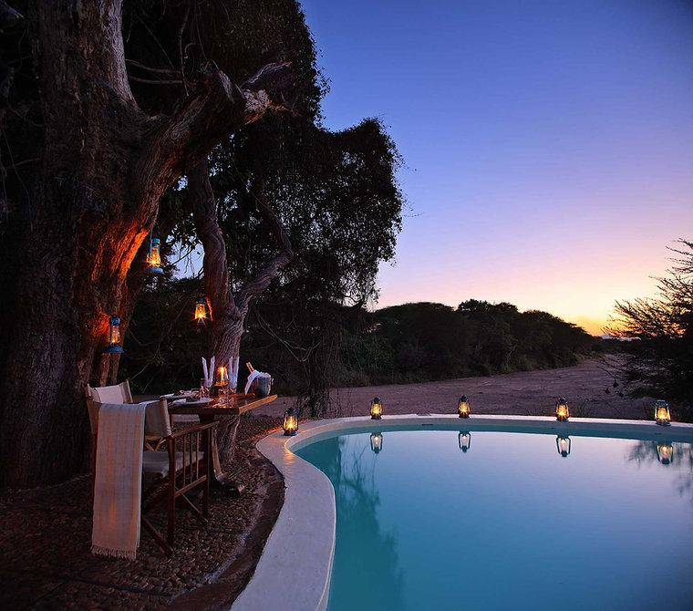 Romantic Poolside dinner Jongomero Ruaha Tanzania