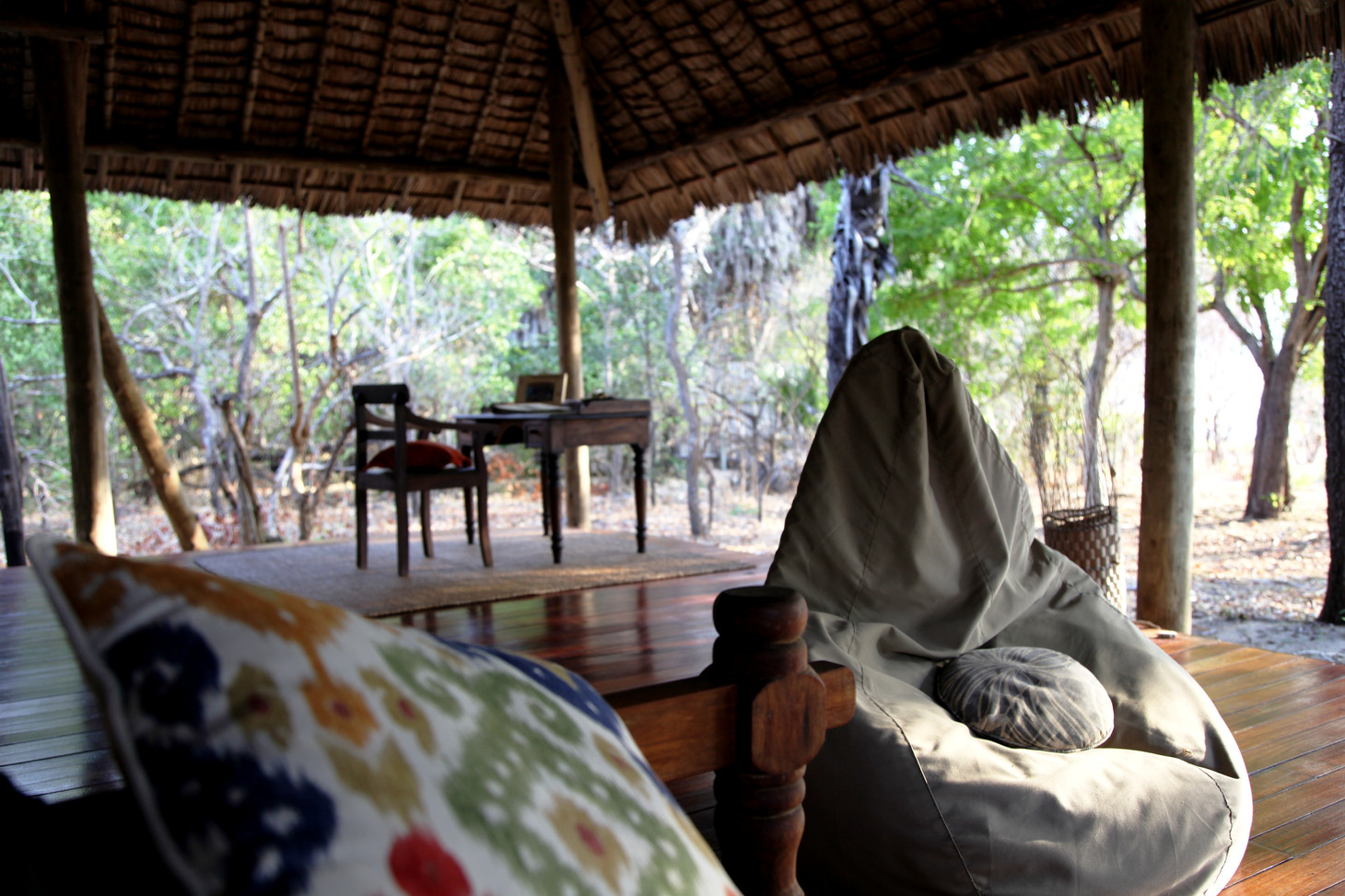 Siwandu tent terrace seating, Nyerere, Selous