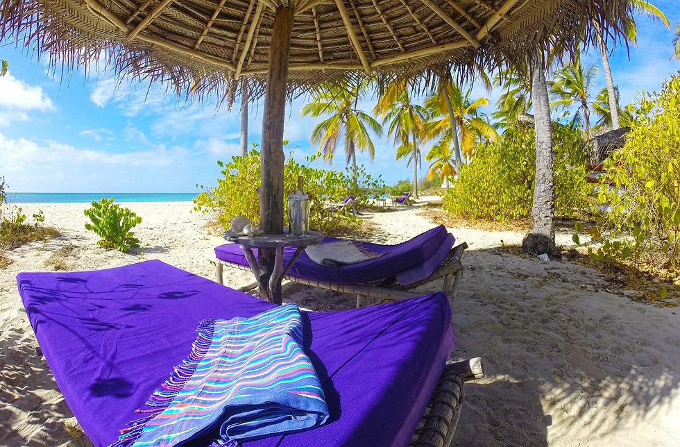 Tanzania Fanjove Island beach beds Indian Ocean Tanzania