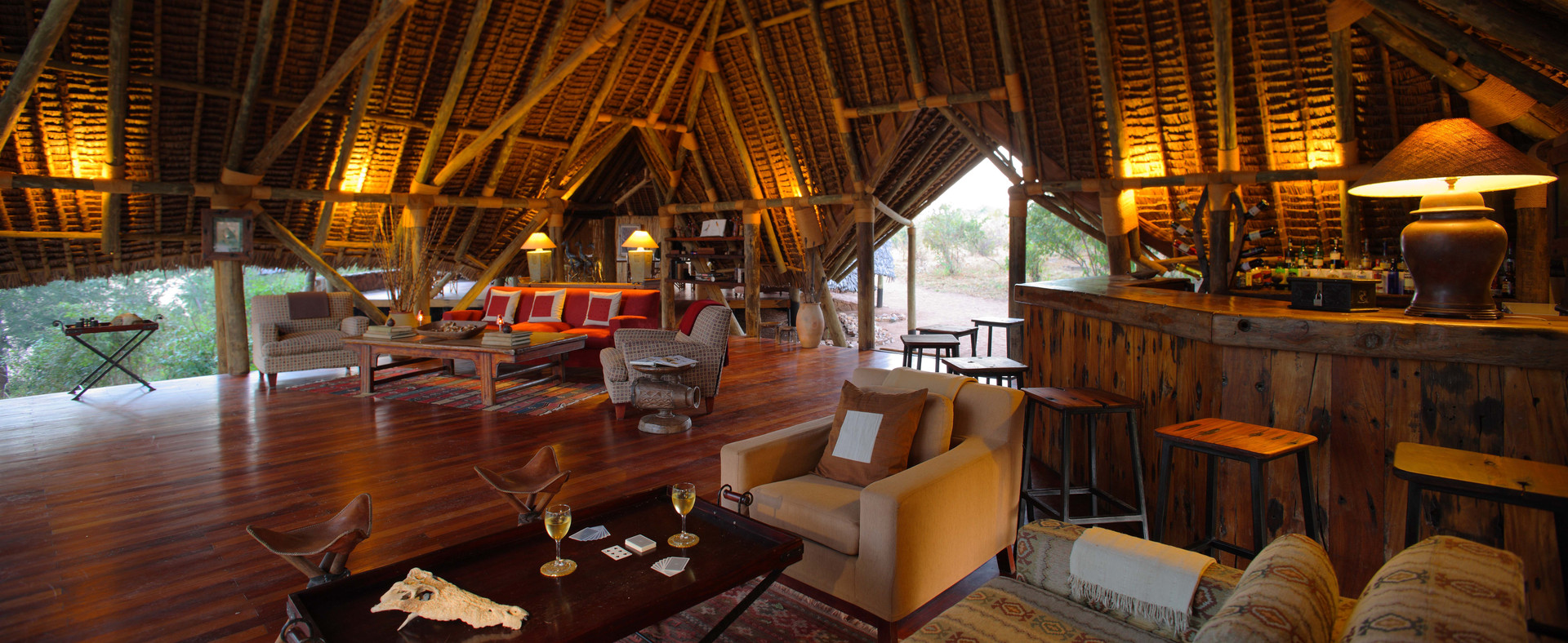 Lounge and bar area at Jongomero, Ruaha