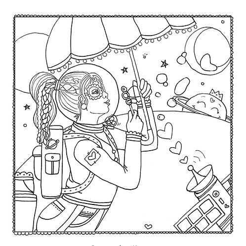 """""""Over the Moon"""" Coloring Page"""