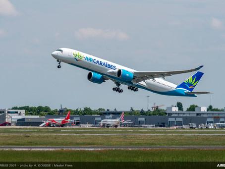 Le deuxième Airbus A350-1000 d'Air Caraïbes a effectué son premier vols d'essai chez Airbus.