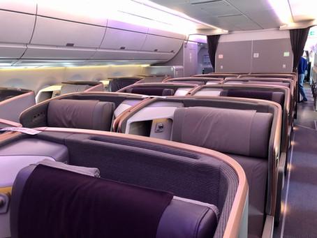 A BORD DE L'AIRBUS A350 DE SINGAPORE AIRLINES ENTRE COPENHAGUE ET ROME.