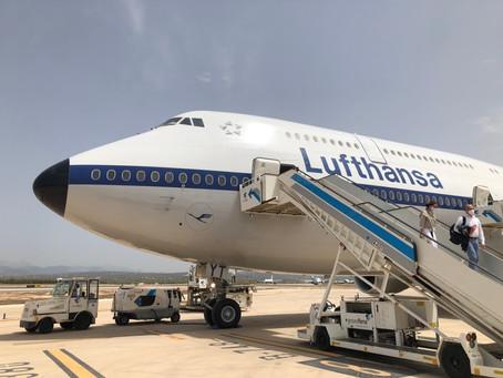 A bord du 747-8 de Lufthansa entre Francfort et Palma de Majorque en classe affaires.