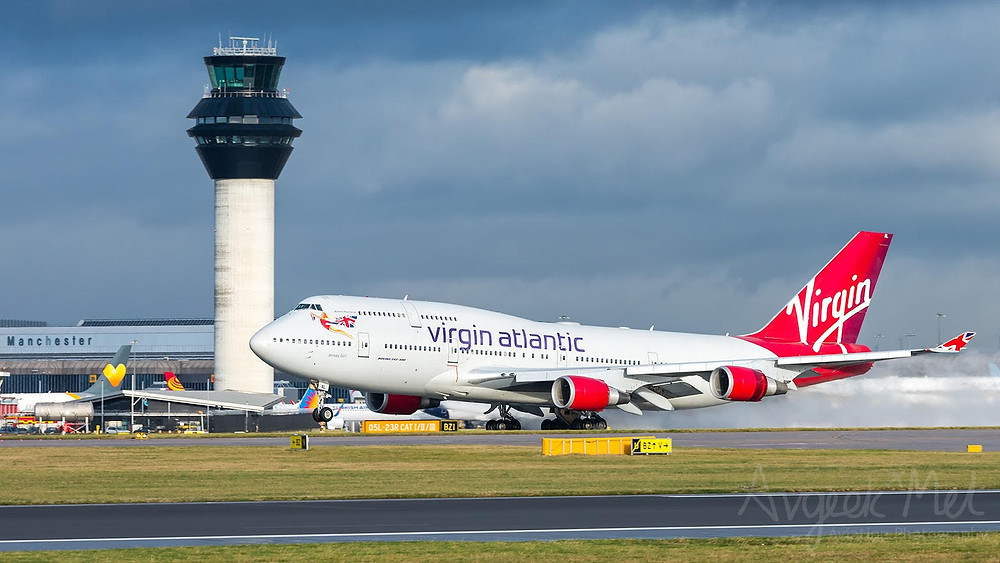 Virgin's 747, registered G-VGAL and nicknamed 'Jersey Girl', flew from Manchester to Ciudad Real Airport (CQM) yesterday