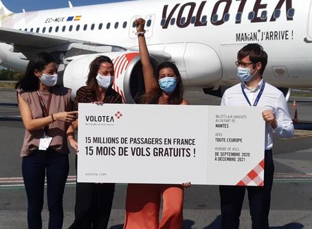 Volotea a atteint 15millions de passagers transportés en France, après 8 ans d'activité.