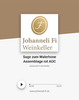 Johanneli Fi Weinkeller, Walliser Sage zum Walerhone Assemblage rot, Schweizer Weintourismuspreis