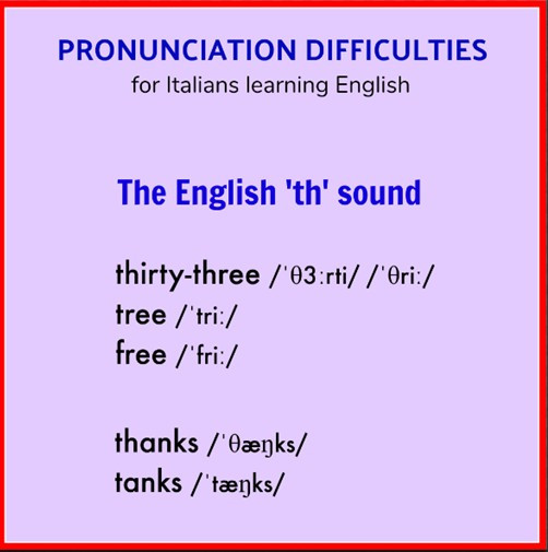 pronunciation difficulties for italians learning english the english th sound thirty-three tree free