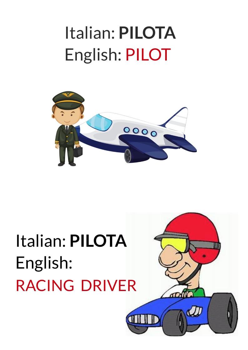 english false friends pilot pilota falsi amici italiani