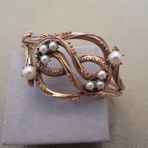 Antique Vintage 14k Pearl and Gold Bangle