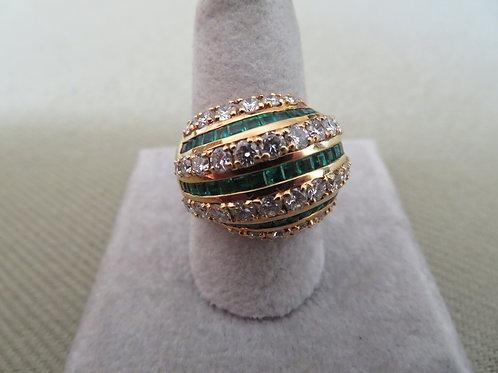 1990s 18k Yellow Gold Emerald and Diamond Ring