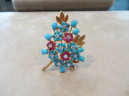 French Turquoise and Diamond Brooch