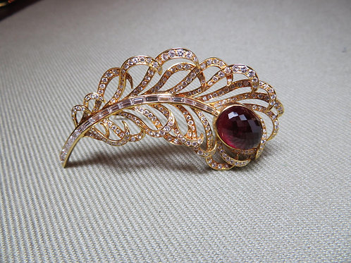 Rubellite Feather Brooch