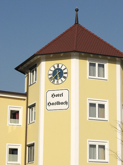 Outdoor clock at Hotel Haselbach
