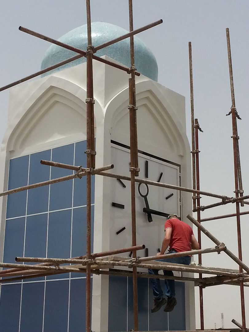 Installation of the tower clock for the main mosque in Basrah, Iraq