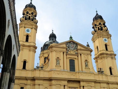 Theatinerkirche in Munich with renovated tower clock