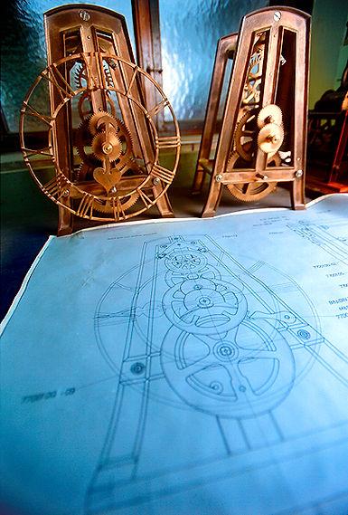 Zeichenpläne und Rohwerke Turmuhr