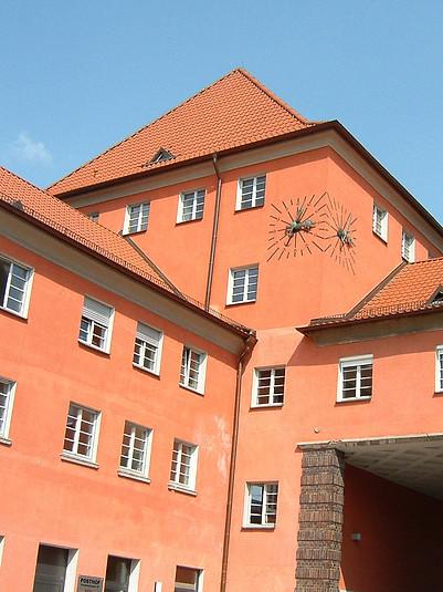 Tower clocks at the Posthof office building in Regensburg