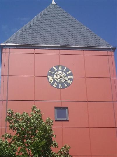 Individually designed tower clock for the Malzfabrik Weyermann