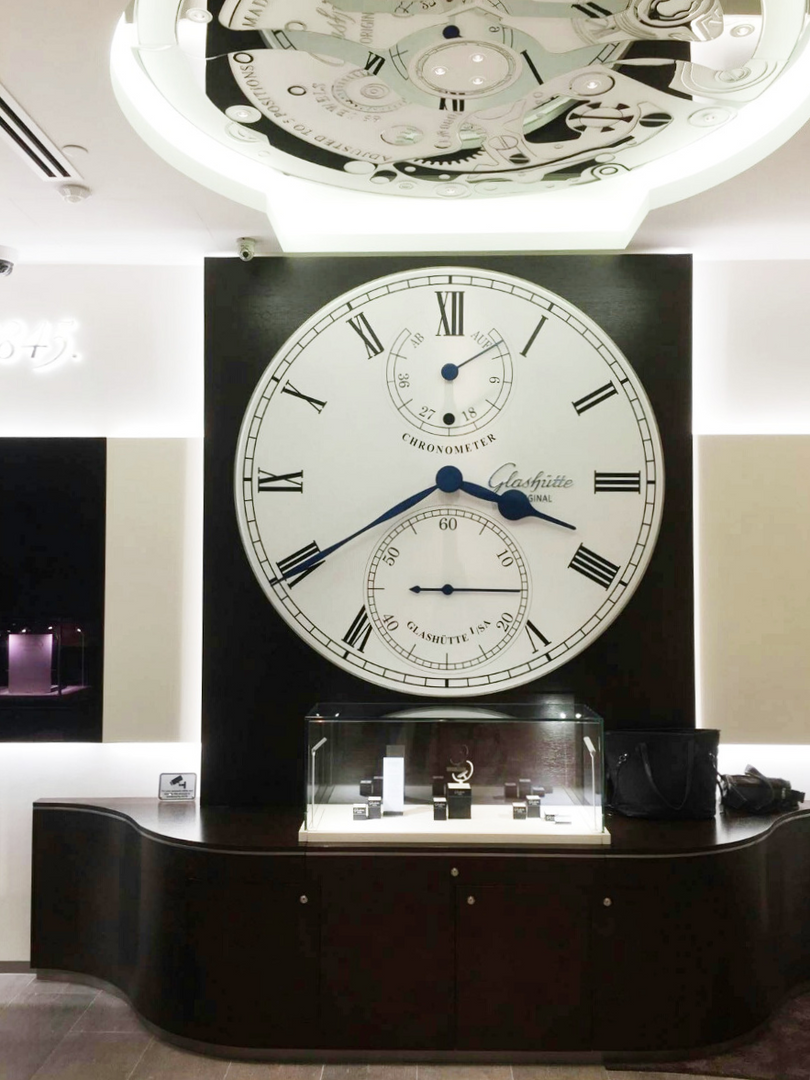 Tower clock technology for interior clock in Glashütte Original Boutique