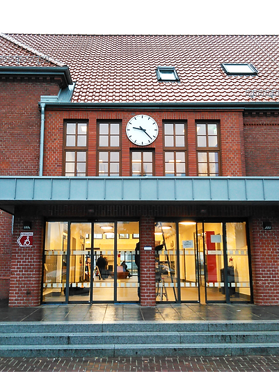 Station in Cuxhaven with tower clock