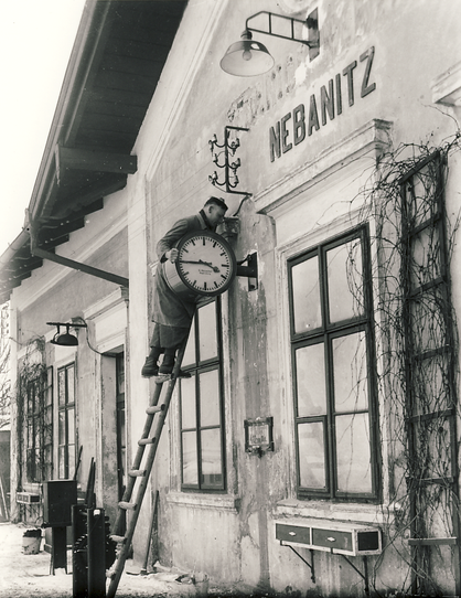 Installation of station clocks in today's Czech Republic 1933