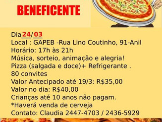 Rodízio de pizza beneficente
