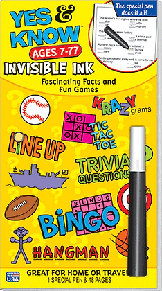 Yes & Know: Ages 7-77 Invisible Ink Activity
