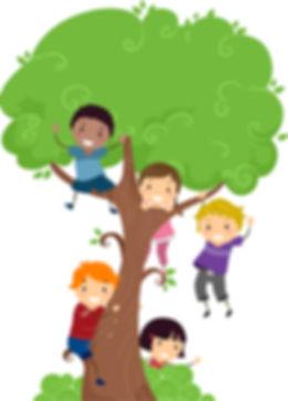 Creative Kids enjoying climbing a tree