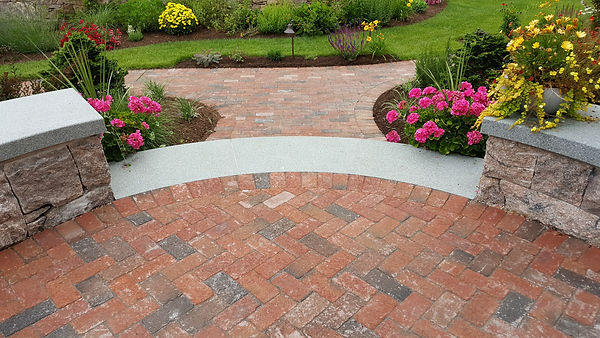 Patio and Walkway with Clay Brick Pavers