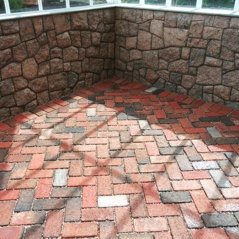 Mosaic Stone Veneer With Permeable Brick Floor