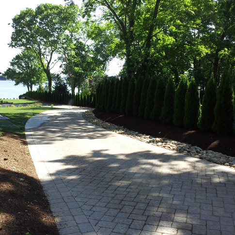 Long Brick Paver Block Driveway