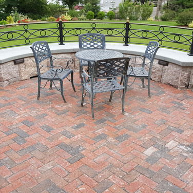 Clay brick paver circular sitting area Branford, CT