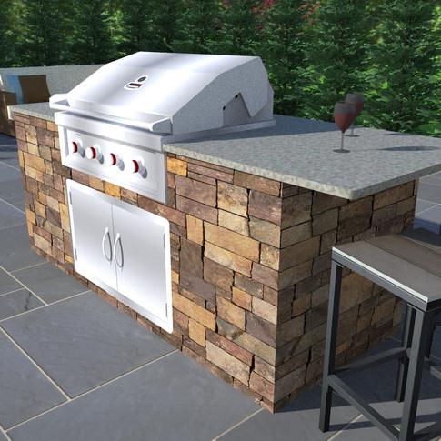 3D Realistic Outdoor Kitchen Design Renderings