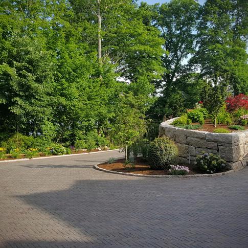 Herringbone Patern Brick Paver Driveway with Curbing