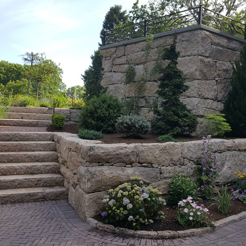 Granite wall, steps and curbing