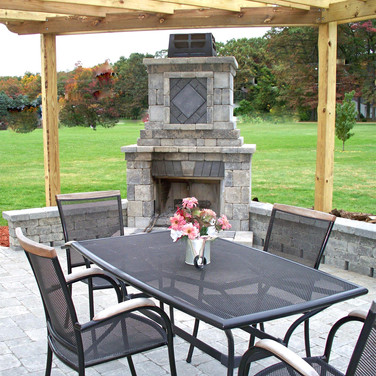 Paver Patio, Fireplace and Block sitting wall