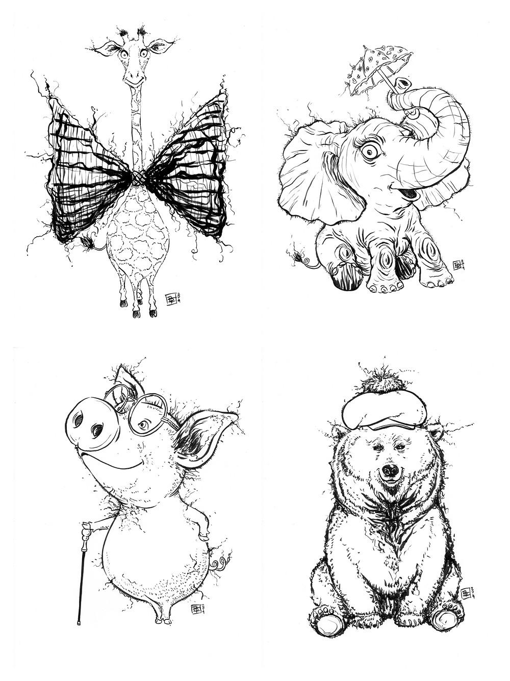 Cute fuzzy happy animal drawings (Giraffe, Elephant, Piggy, Bear) for Inktober - Part 2