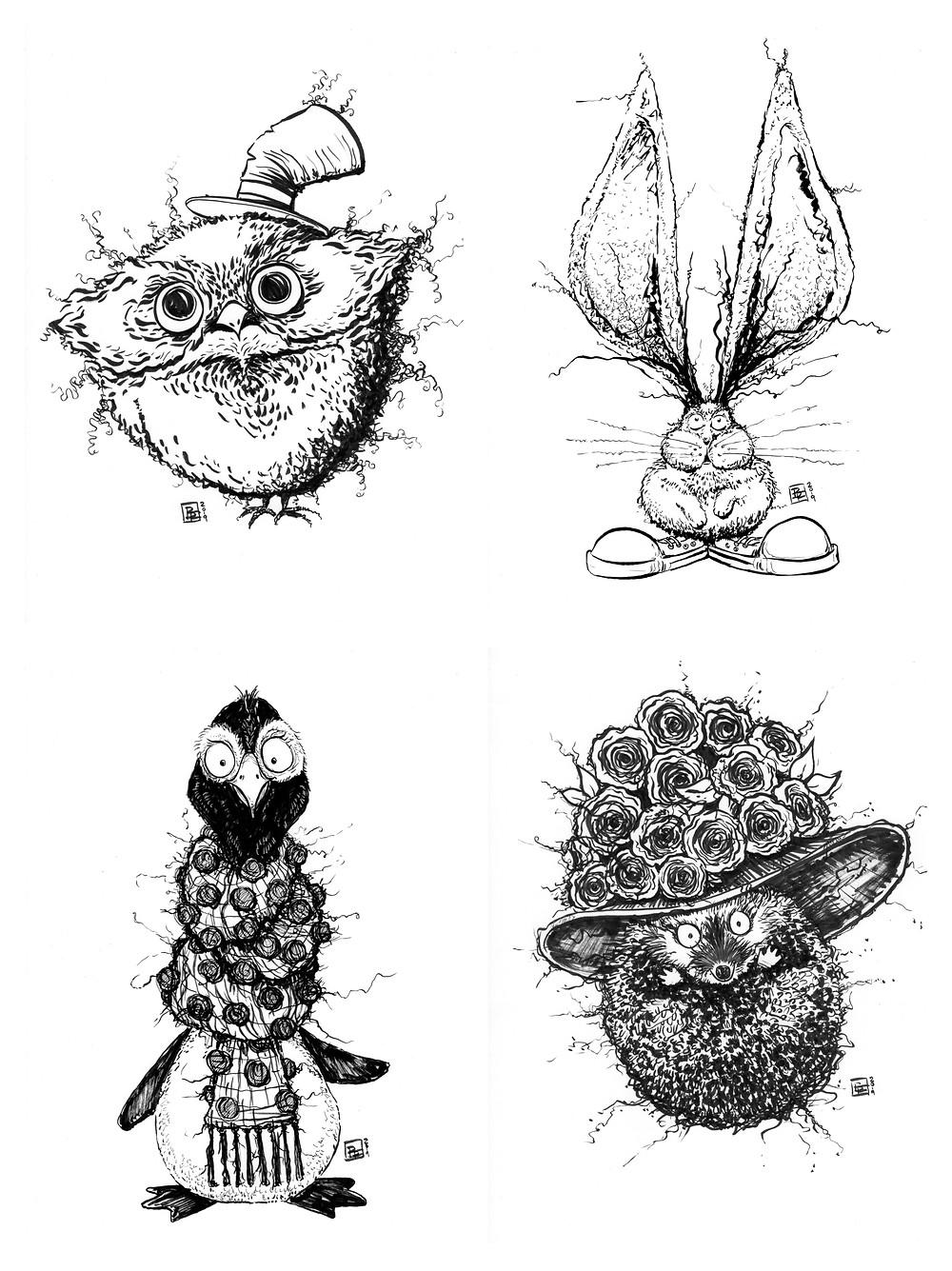 Cute fuzzy happy animal drawings (Owl, Bunny, Penguin, Hedgehog) for Inktober - Part 1