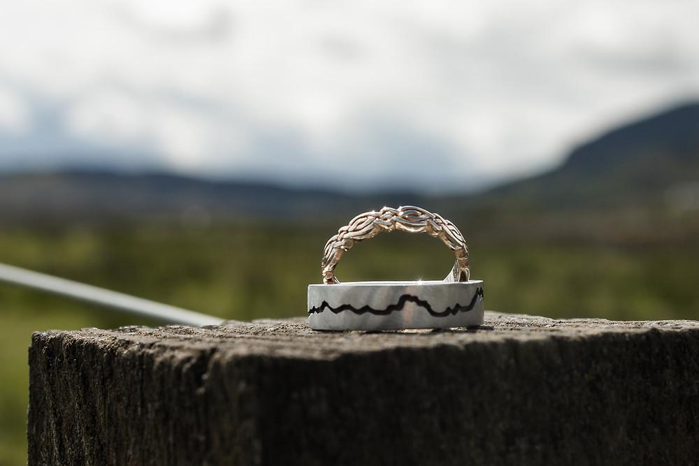 Mountain wedding rings The Big Day Company Shaun and Amanda Denholm