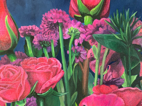 Whiskey and Pink Flowers Painting