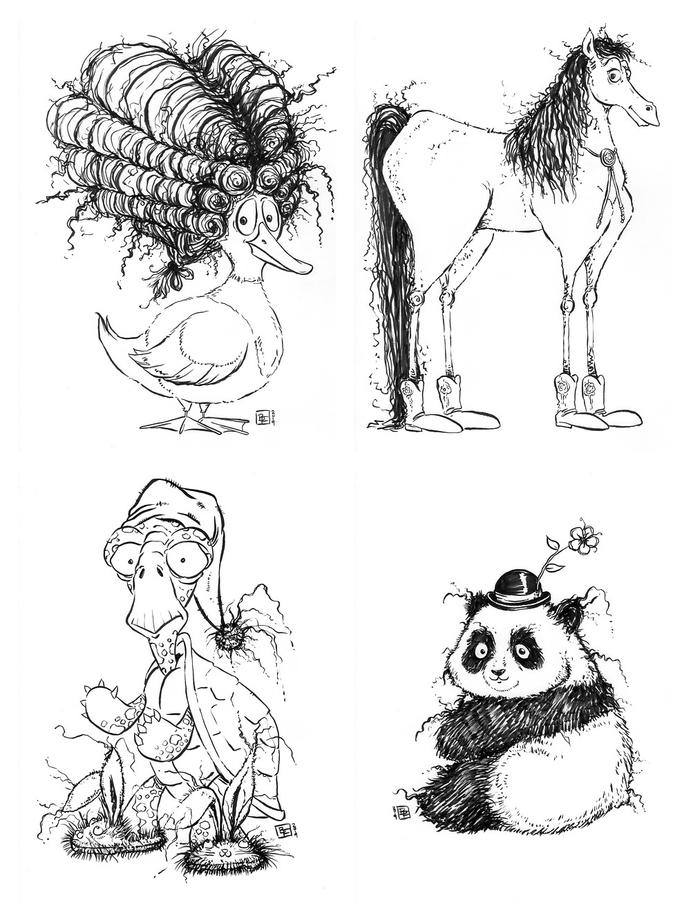 Cute fuzzy happy animal drawings (Duck, Horse, Turtle, Panda) for Inktober - Part 3