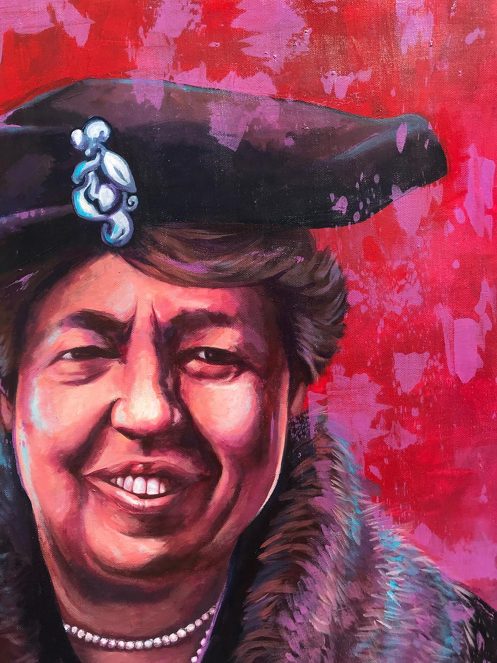 Eleanor Roosevelt Portrait Painting view 2