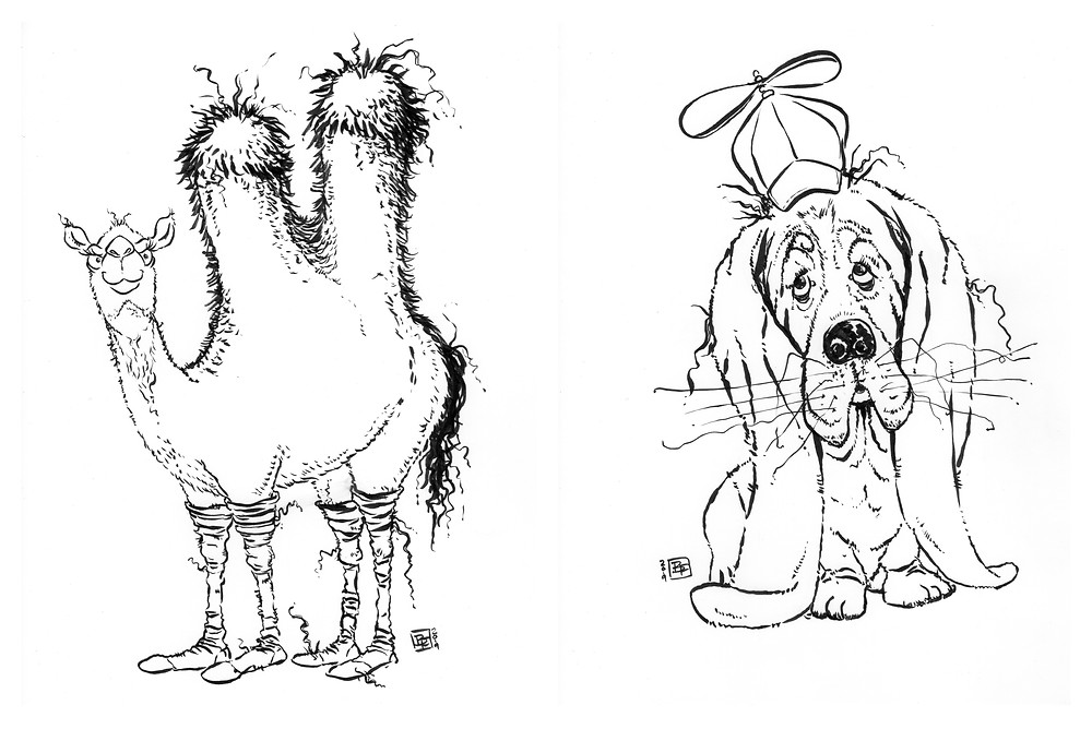 Cute fuzzy happy animal drawings (Camel, Basset Hound) for Inktober - Part 4
