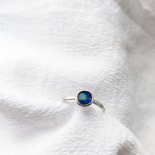 Handmade Recycled Silver Hammered Opal Triplet Ring