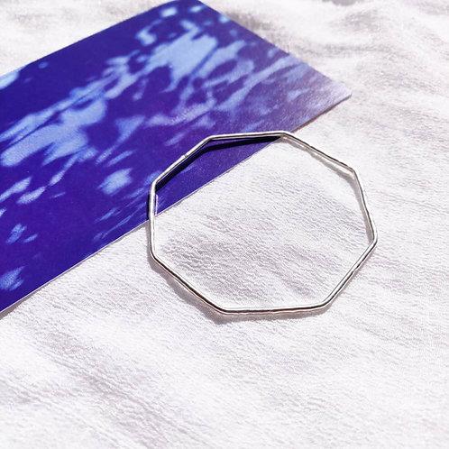 Handmade Eco-silver Hammered Octagon Bangle
