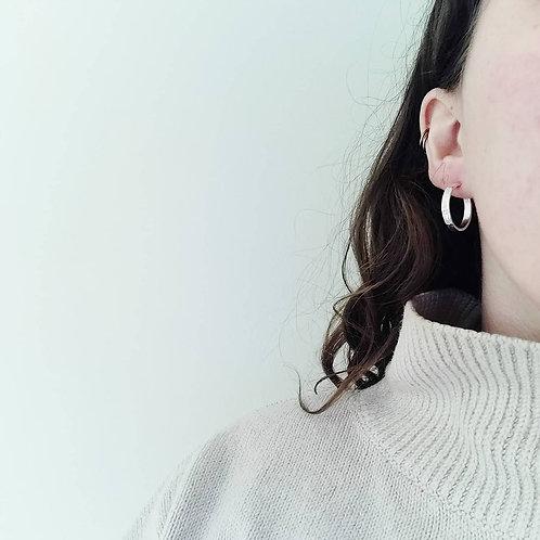 Handmade Recycled Silver Chunky Hammered Hoop Earrings