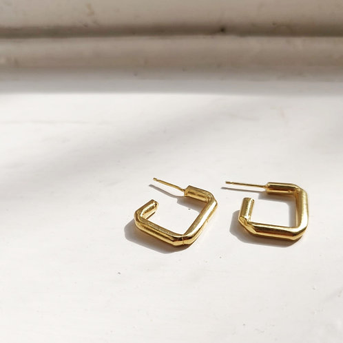 Handmade Chunky Rectangle Hoops in Recycled Silver or Gold Vermeil